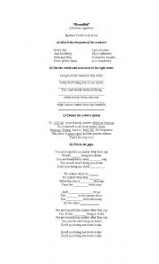 English Worksheet: Beautiful -Christina Aguilera