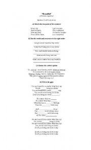 English Worksheets: Beautiful -Christina Aguilera