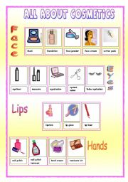 English Worksheet: All about cosmetics (2 pages)
