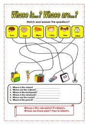 English worksheet: Whose ( possessive ´s )