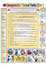 English Worksheet: Inseparable Phrasal Verbs Part 2