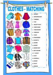 English Worksheets: CLOTHES  - MATCHING EXERCISE