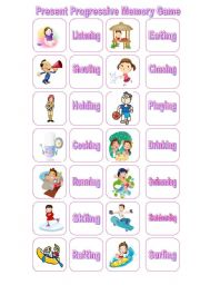 English Worksheets: Present Continuos  Memory Game