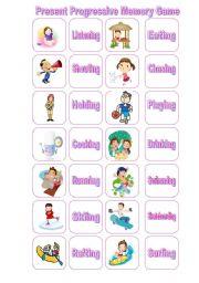 English worksheet: Present Continuos  Memory Game