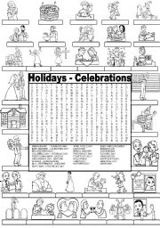 English Worksheet: Wordsearch  HOLIDAYS AND CELEBRATIONS