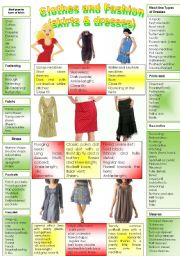 English Worksheet: CLOTHES AND FASHION (part 1- dresses and skirts) INTENSIVE VOCABULARY COURSE.