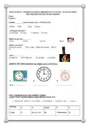 English Worksheet: 4th grade 2nd term 3rd exam