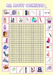 English Worksheet: All about cosmetics 3.(wordsearch)