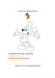 English Worksheet: Let�s Color Mickey Mouse