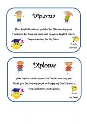 English Worksheet: Diploma for the end of the year