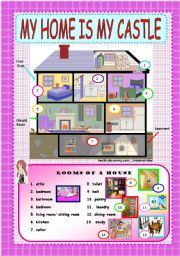 English Worksheet: MY HOME IS MY CASTLE - Rooms of a house