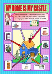English Worksheet: MY HOME IS MY CASTLE -Outside parts of a house