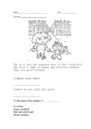 English Worksheets: The girl and the monkey.
