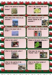 English Worksheet: Ireland and Wales conversation cards - follow up for pictionaries on the English speaking countries