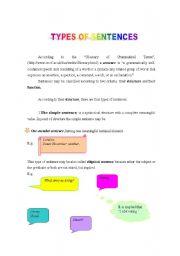 English Worksheets: TYPES OF SENTENCES