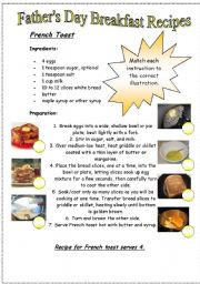 English Worksheet: Father�s Day Breakfast Recipes...french toast
