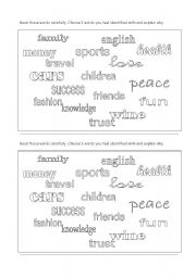 English Worksheets: About me words