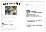 English Worksheets: Wolf Fact File