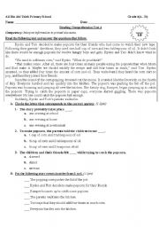 Reading Comprehension for grade 4 - ESL worksheet by Nanoushka