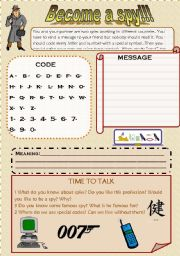 English Worksheets: BECOME A SPY: write a secret code and talk about codes and spies.