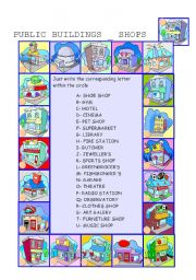 English Worksheet: IN THE CITY: shops and public buildings