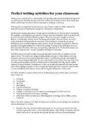 English Worksheets: perfect writing