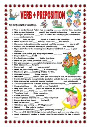 English Worksheets: Verb + preposition