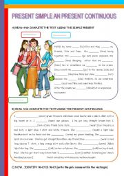 English Worksheet: PRESENT SIMPLE AND PRESENT CONTINUOUS