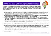 English Worksheets: POCKET MONEY: How do you get your pocket money?