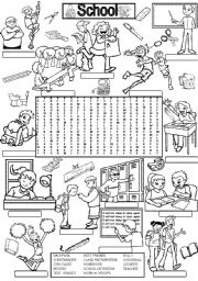 English Worksheets: Wordsearch SCHOOL