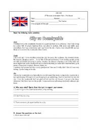English Worksheet: City vs Countryside Assessment Test