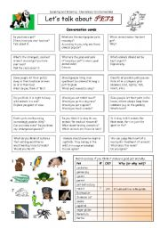 English Worksheet: Let�s talk about PETS