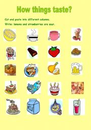 English Worksheet: How things taste?(2 pages  and  editable)
