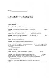 English Worksheet: A Charlie Brown Thanksgiving