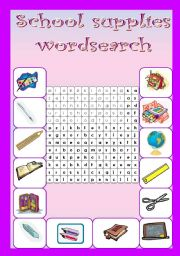 School supplies - wordsearch