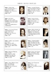 English Worksheet: Famous People