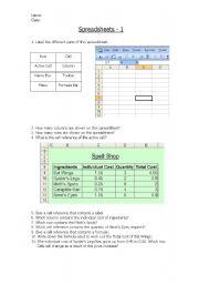 English Worksheets: Spreadsheet Basics 1