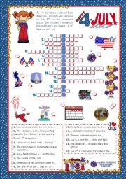 4th of July - Happy Birthday America! - Crossword puzzle for Elementary and Lower Intermediate students