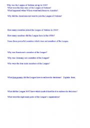 English Worksheets: LEAGUE OF NATIONS
