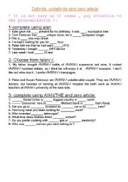 English worksheet: definite, undefinite and zero article