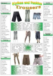 English Worksheet: CLOTHES AND FASHION (part 2- different kinds of pants) INTENSIVE VOCABULARY COURSE.