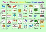 English Worksheet: This is / These are Board game - School Objects
