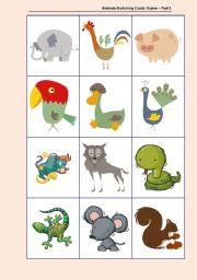 English Worksheet: Animals Matching Cards Game – Part 3