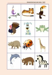 English Worksheets: Animals Matching Cards Game � Part 2