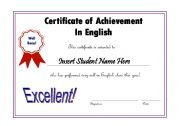 English Worksheets: Editable Award Certificate English Maroon/Blue