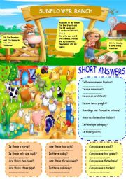 English Worksheet: SUNFLOWER RANCH - SHORT ANSWERS
