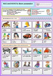 English Worksheet: Has and have to show possession