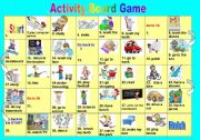 English Worksheet: Daily Activities Board Game