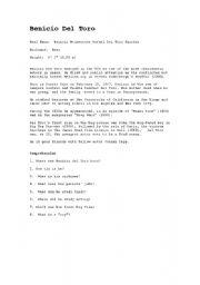 English Worksheets: Benicio del Toro
