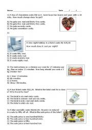 English Worksheets: math problem
